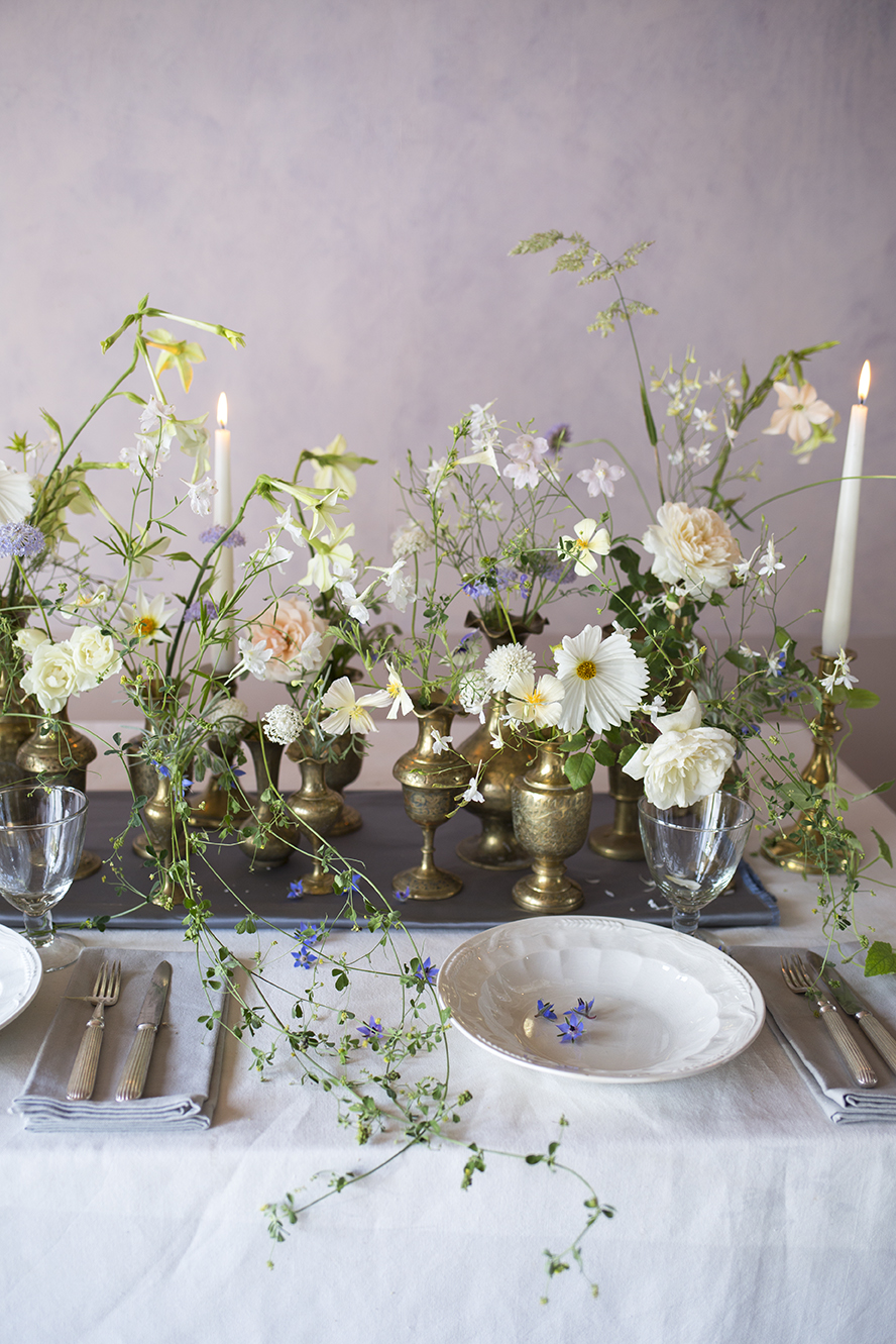 A demo tablescape in brass vessels during a private class at Aesme Flower Studio