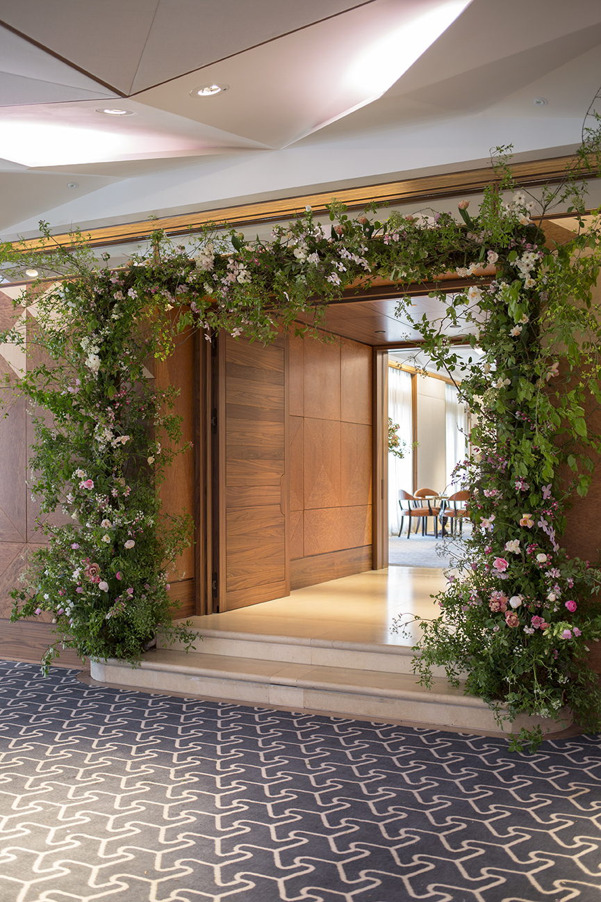Spring flower arch in the Berkeley Hotel, London by Aesme Flower Studio for House & Garden May 2018