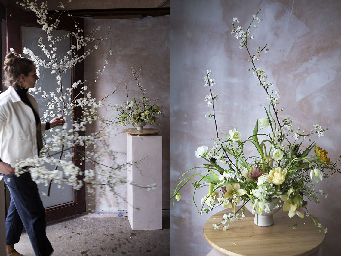 Arranging blossom branches | Aesme Flower Studio London