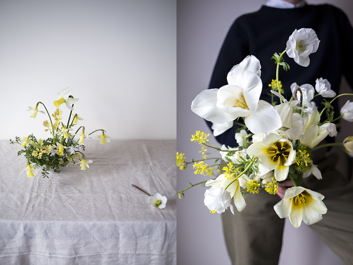 Left: a small bowl arrangement of yellowing anemone leaves, rosettes of hairy bittercress and Narcissus 'Elka'.  Right: a bouquet of tulips, Narcissus 'Wedding Bell', Anemone 'Coronaria The Bride' and charlock.
