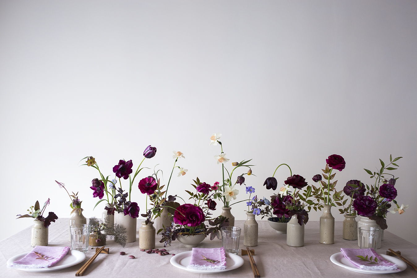 Flower School | Table styling 1:1 class: bronze, blue, plum and accents of peach in ceramic vessels