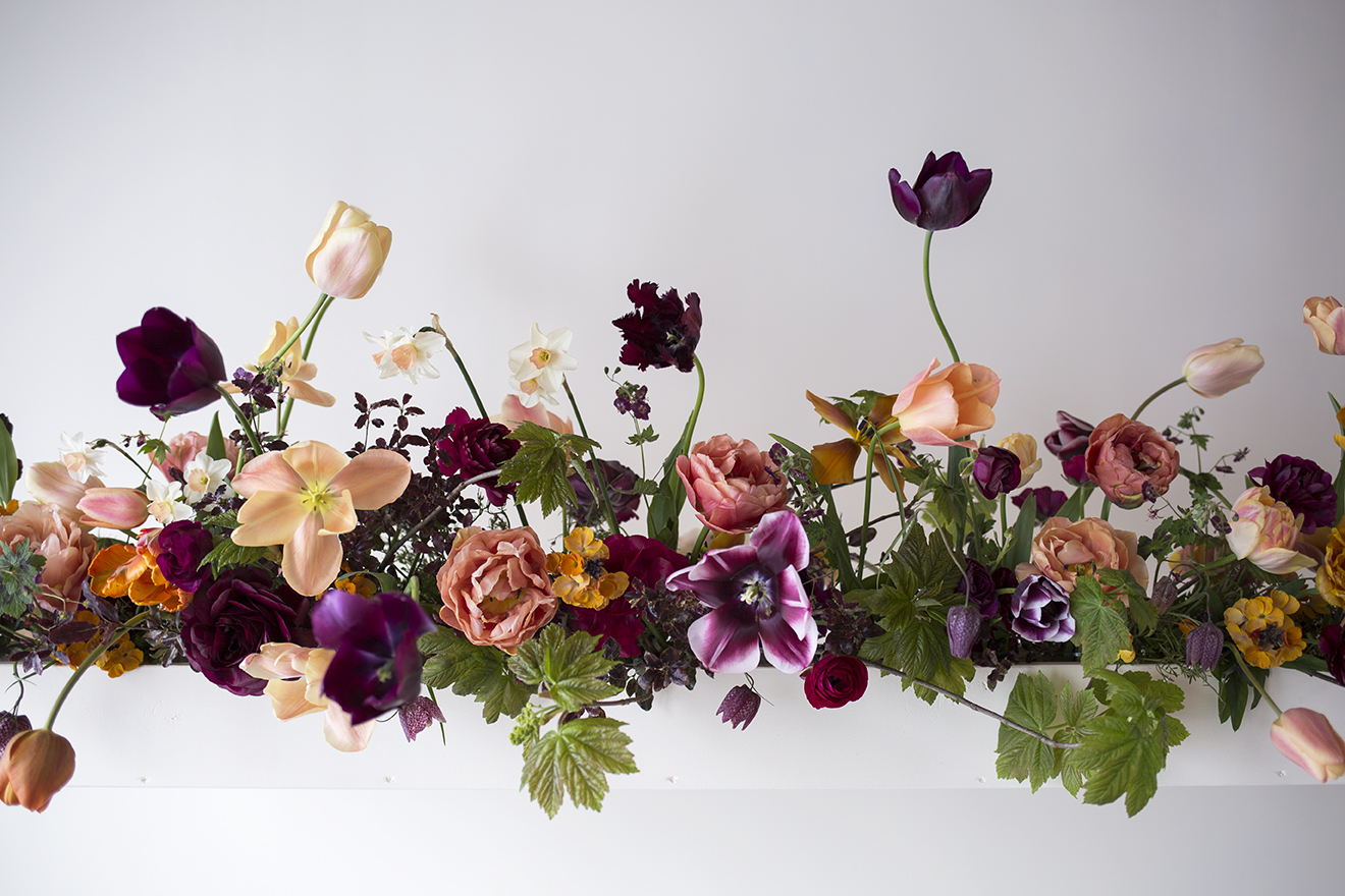 Flower School | 1:1 class hanging installation: a suspended trough layered with tulips, geranium, narcissus and fritillaria