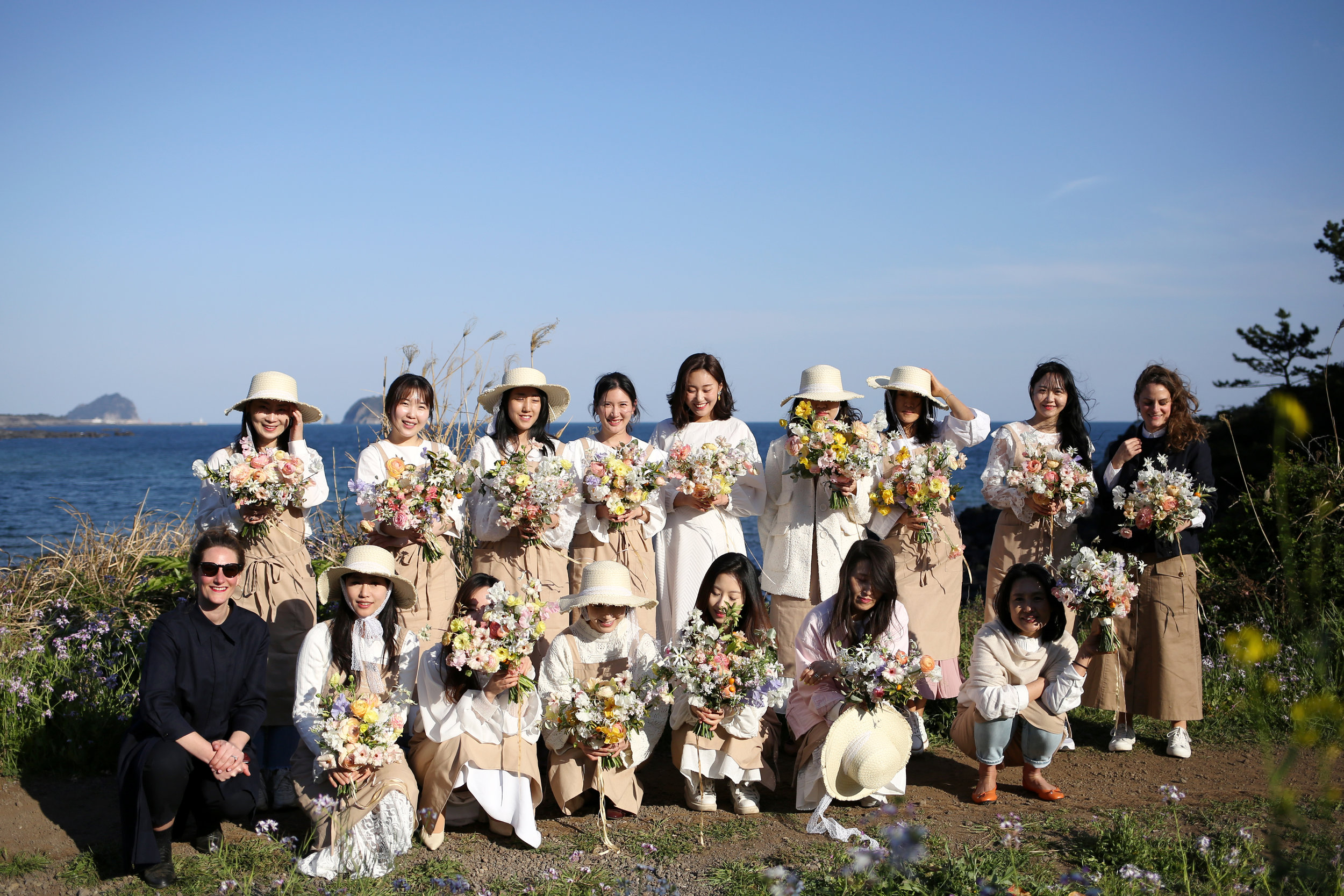 Flower School | our wonderful group of students with their ruffly garden-inspired bouquets