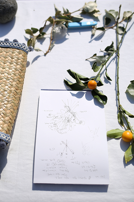 Left: a bouquet of spring flowers and locally foraged silverberry foliage  Above: a student's sketches of the bouquet demonstration