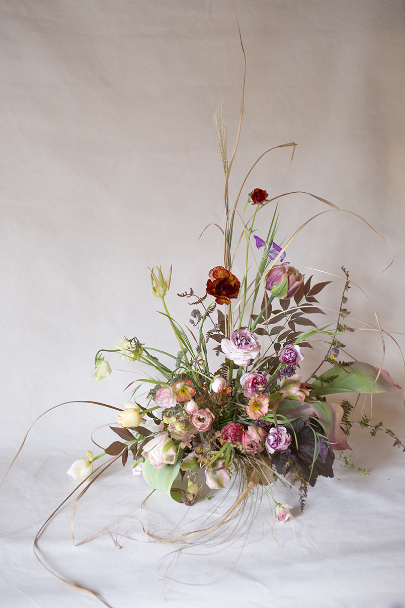 Materials | Grasses, nandina, ranunculus, ferns, the last of the tulips