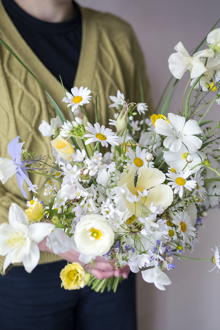 Hannah's bouquet contained corncockle, Marguerite daisies, Californian poppies, Aquilegia & sweet peas