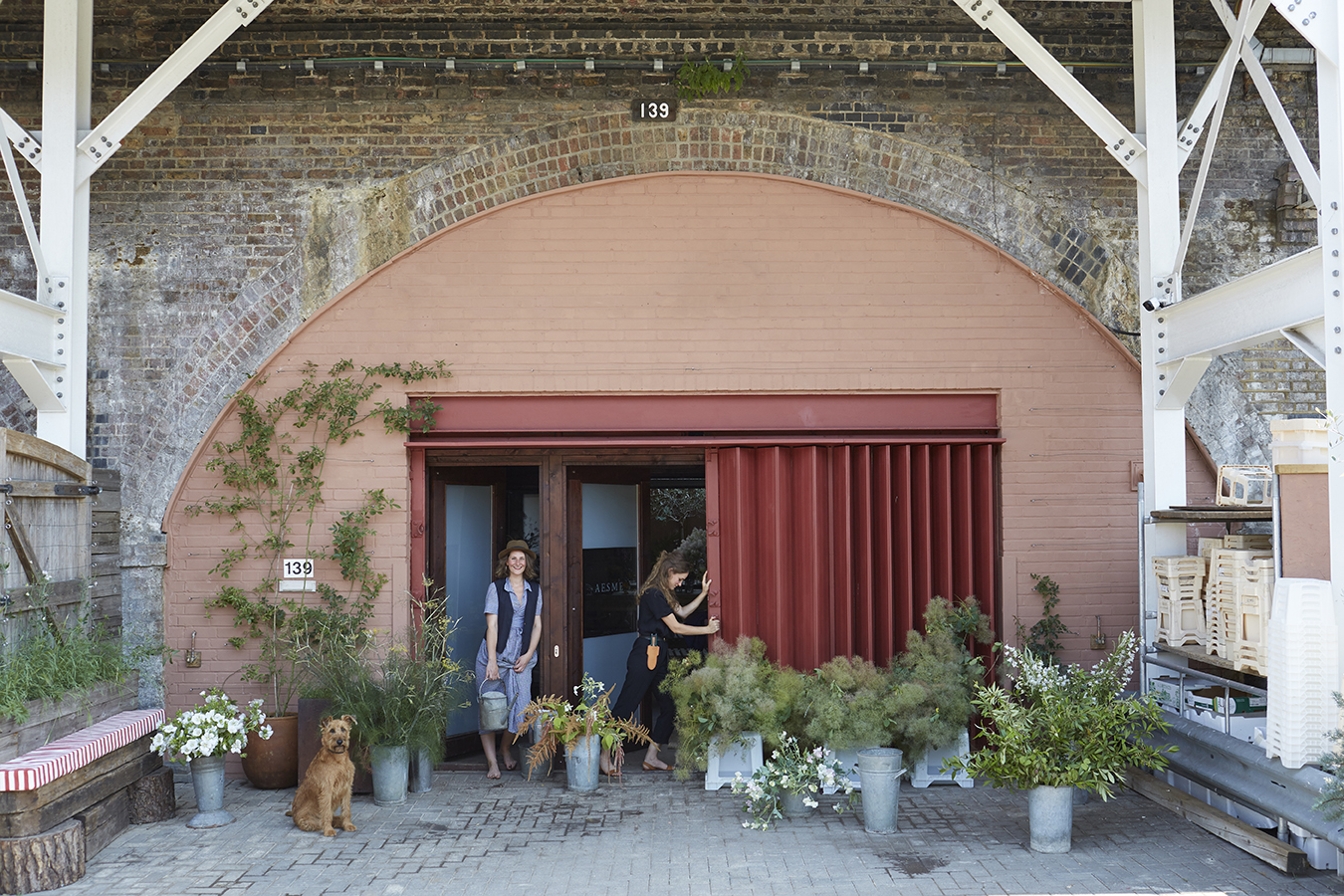 A converted Victorian railway arch in Shepherd's Bush, the studio opens on the east side of a brick-built viaduct, between the terraced houses of Macfarlane Road and Frithville Gardens. Above is the extended platform of Shepherd's Bush Market Underground station, where tubes rumble to halt on the Hammersmith & City and Circle lines. Photograph by  Kristin Perers