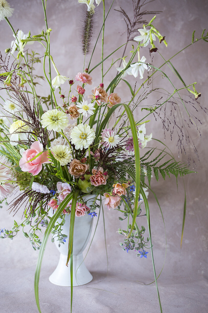 Ceramic Urn | Borage, roses, zinnia, cosmos, dahlia, nicotiana & grasses