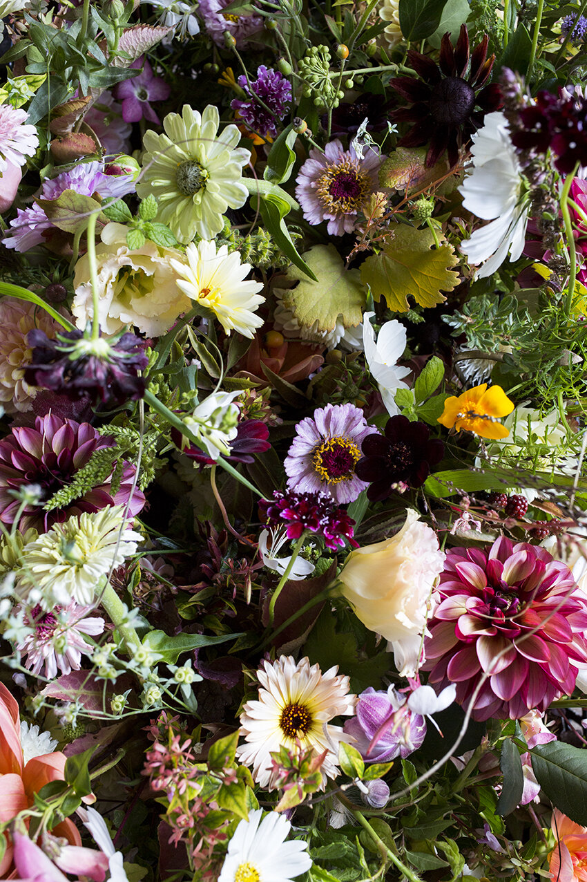 Autumn wedding arrangements for Claire & Greg on their wedding day in Ovington, Hampshire