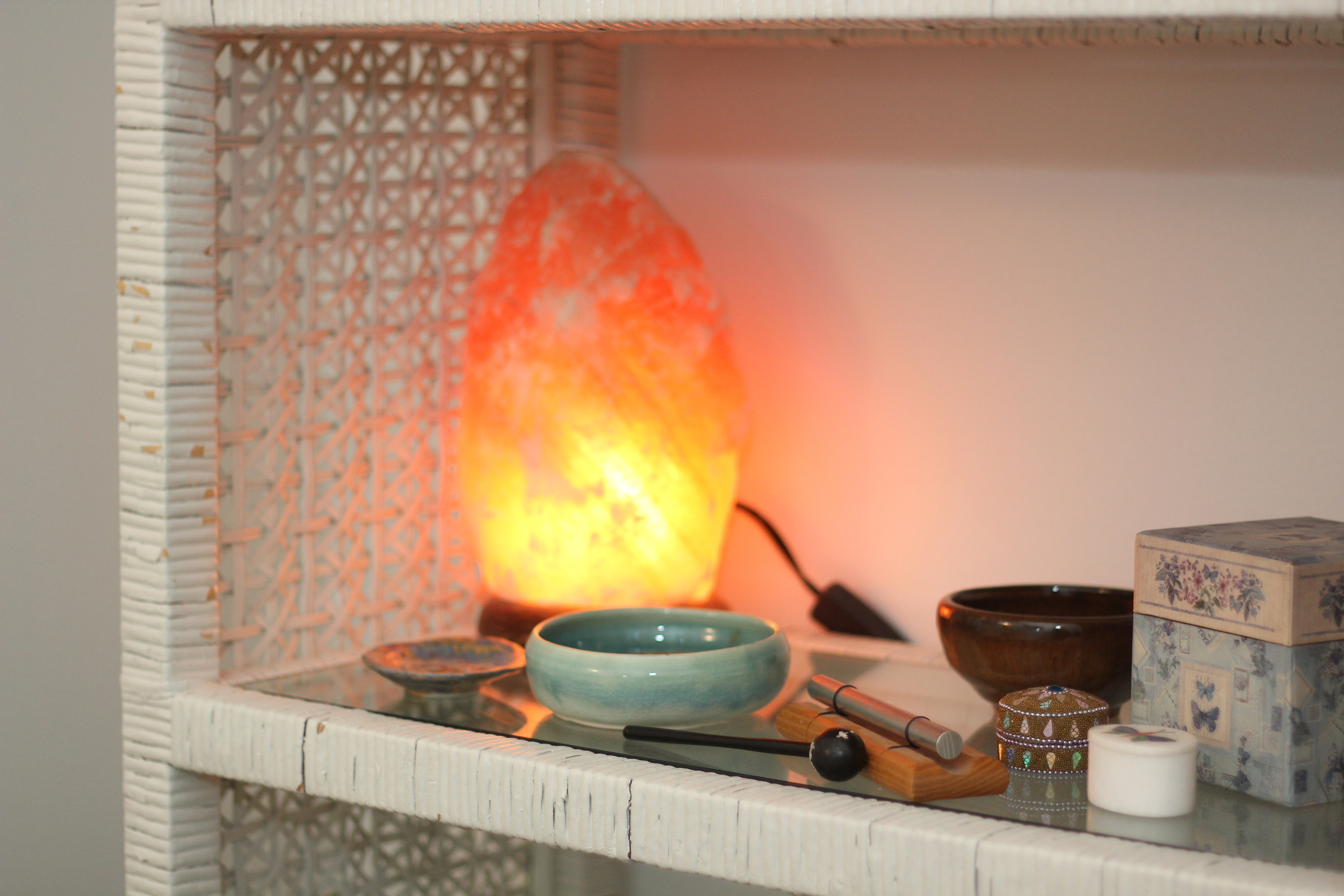 counter with bowls and a gentle flame