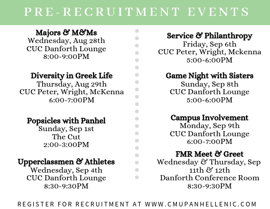 This year's pre-recruitment events!
