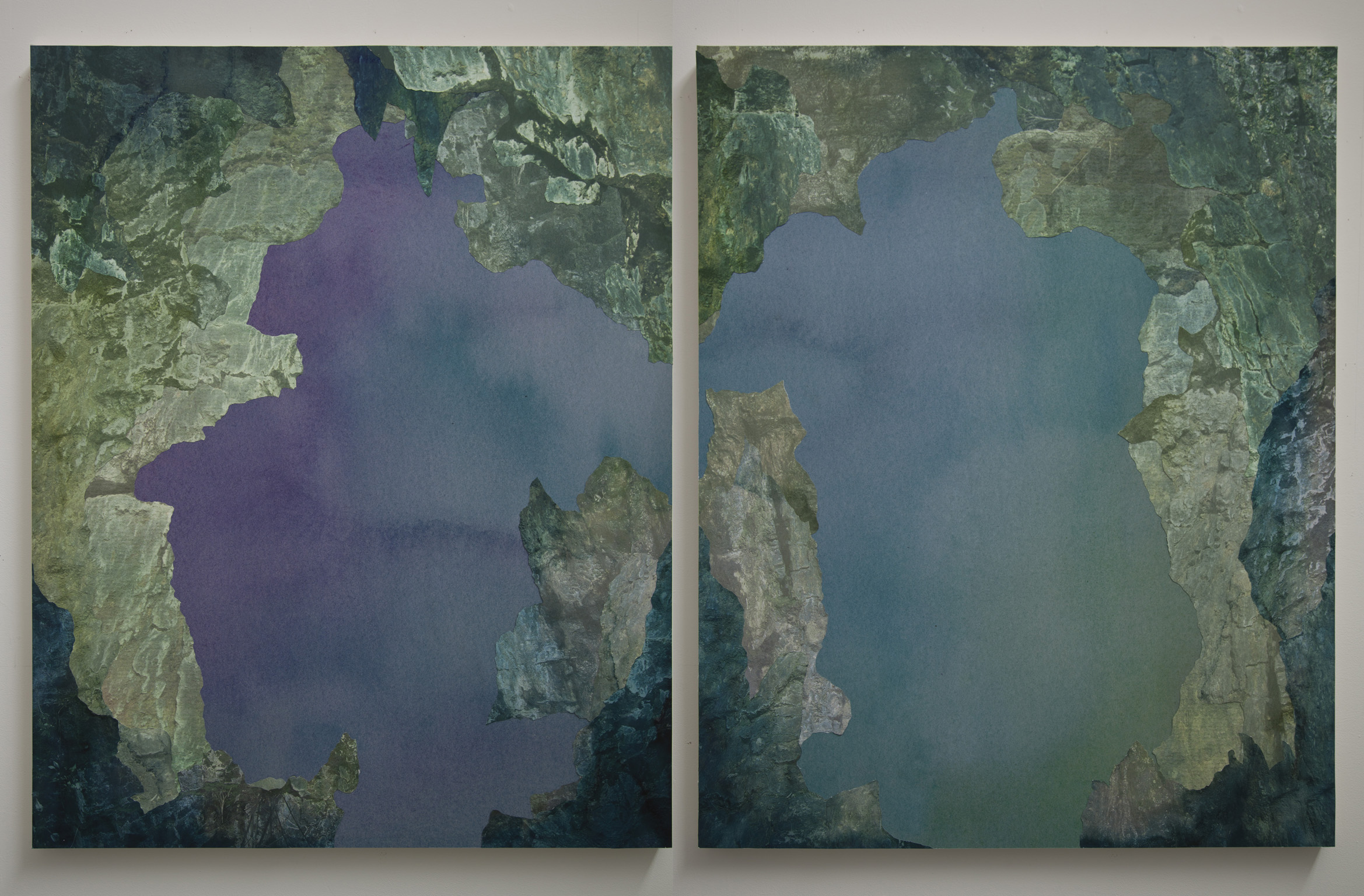 """Cavern Diptych,  archival pigment prints, collage on panel, 54"""" x 43"""" each, 2012."""