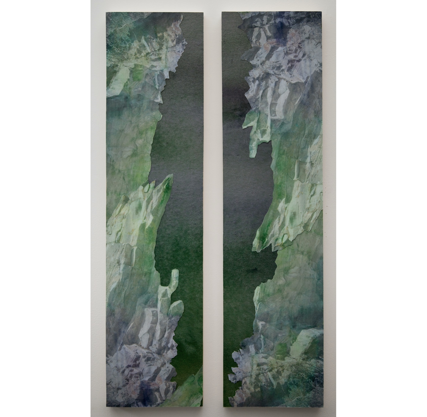 "Pass Diptych I,   archival pigment prints, collage on panel, 48"" x 12"" each, 2012."