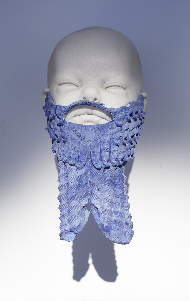 UNTITLED (BABY BEARD), 2015, CAST MARBLE AND LAPIS LAZULI