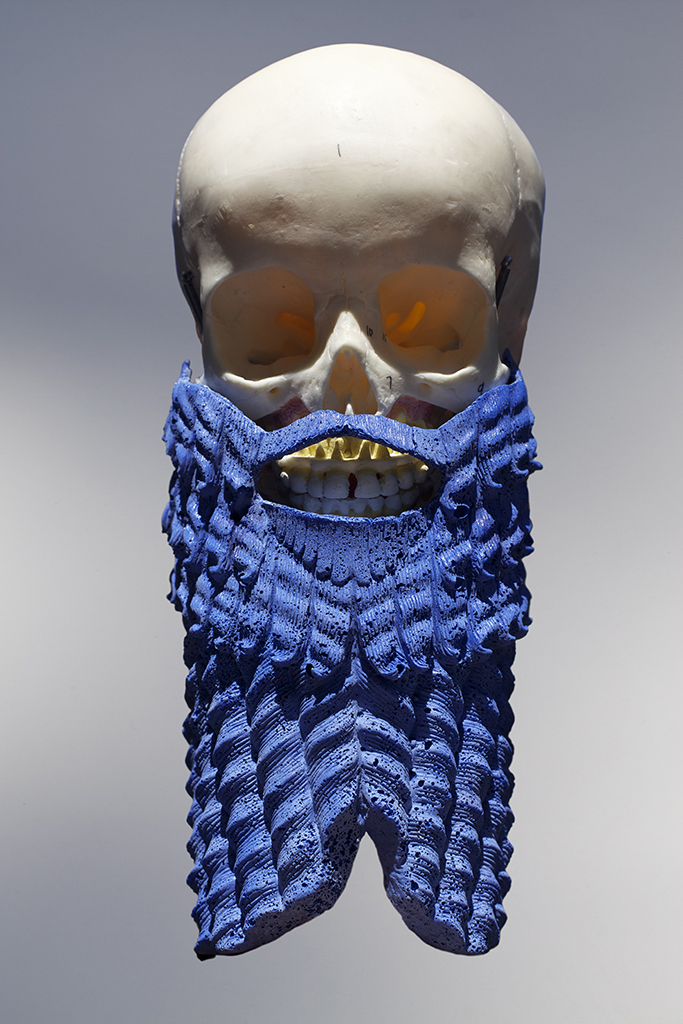 UNTITLED (skull beard), 2015, cast marble and lapis lazuli
