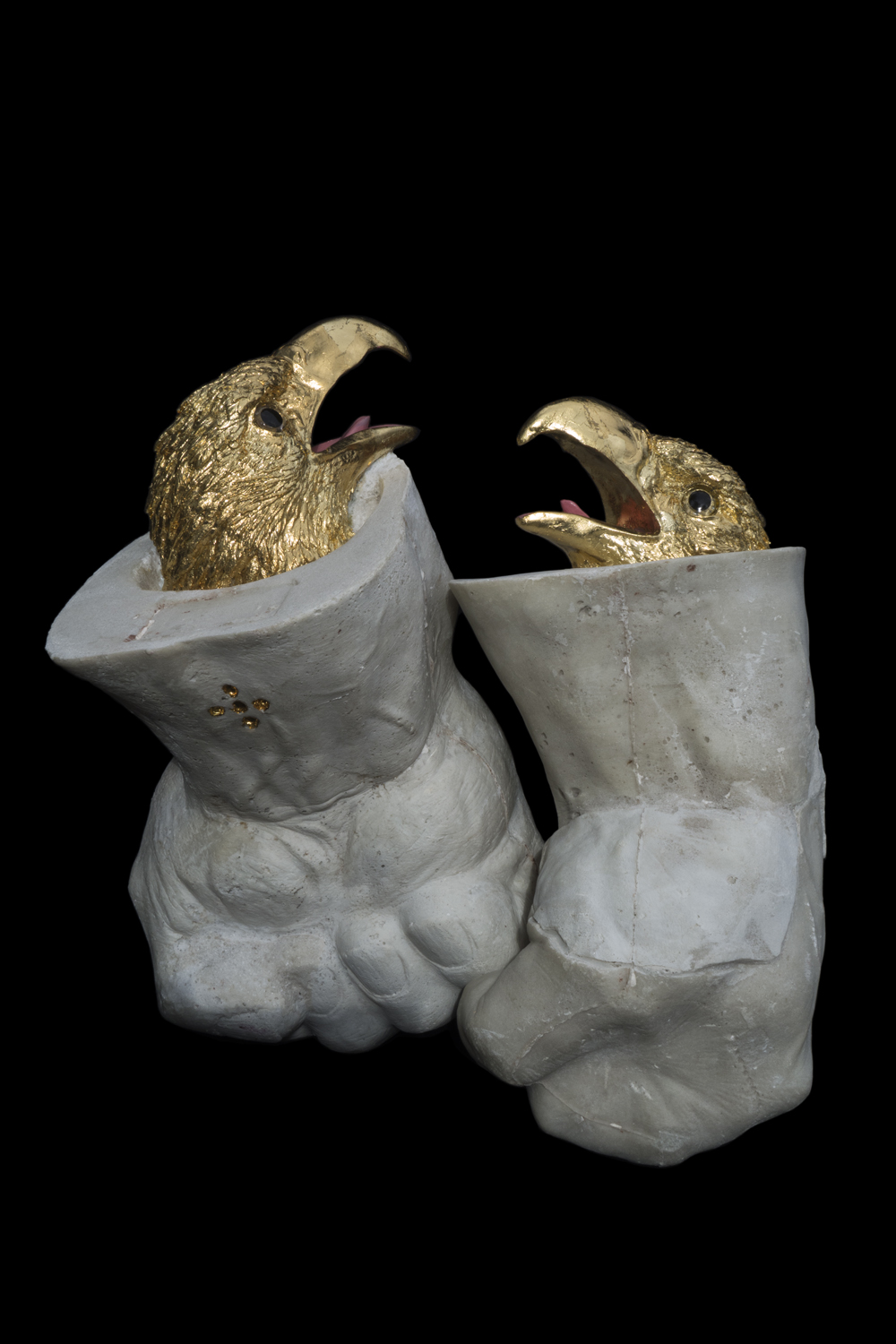 Myth of Might, 2013, cast marble, gilded plastic, 16x8x7