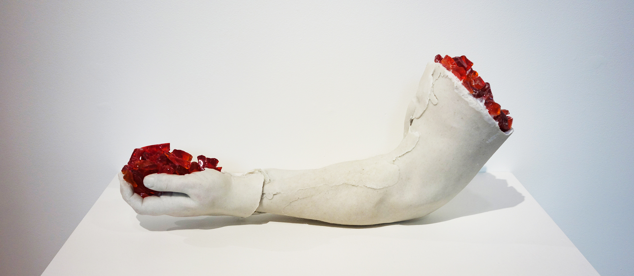 Fulcrum, 2013, cast marble, glass and human hair, 24x16x6 inches