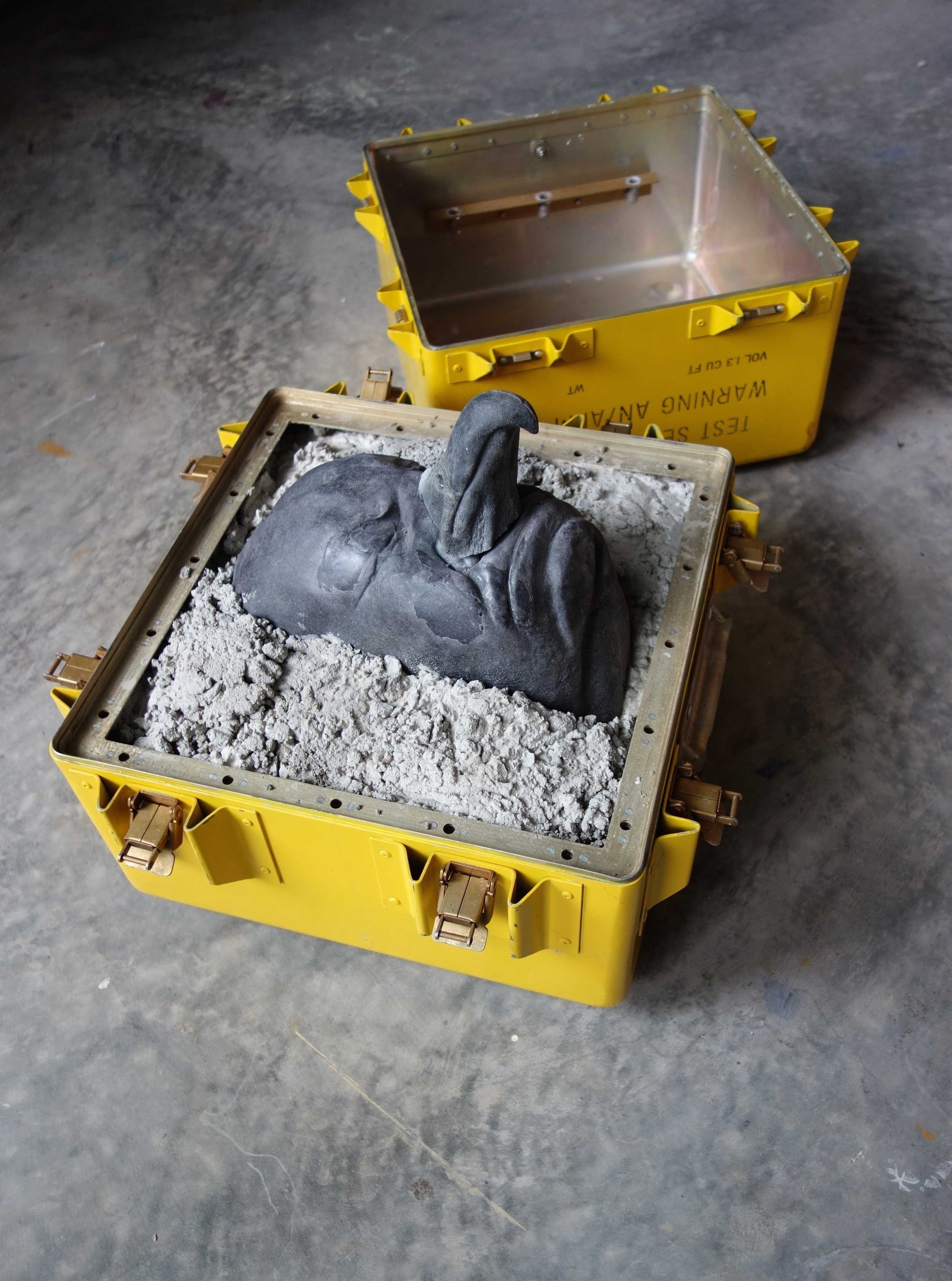 RETURN TO SENDER III: Altitude, 2015, cast cultured granite, cement and metal box, 14.75x17x17 inches each compartment