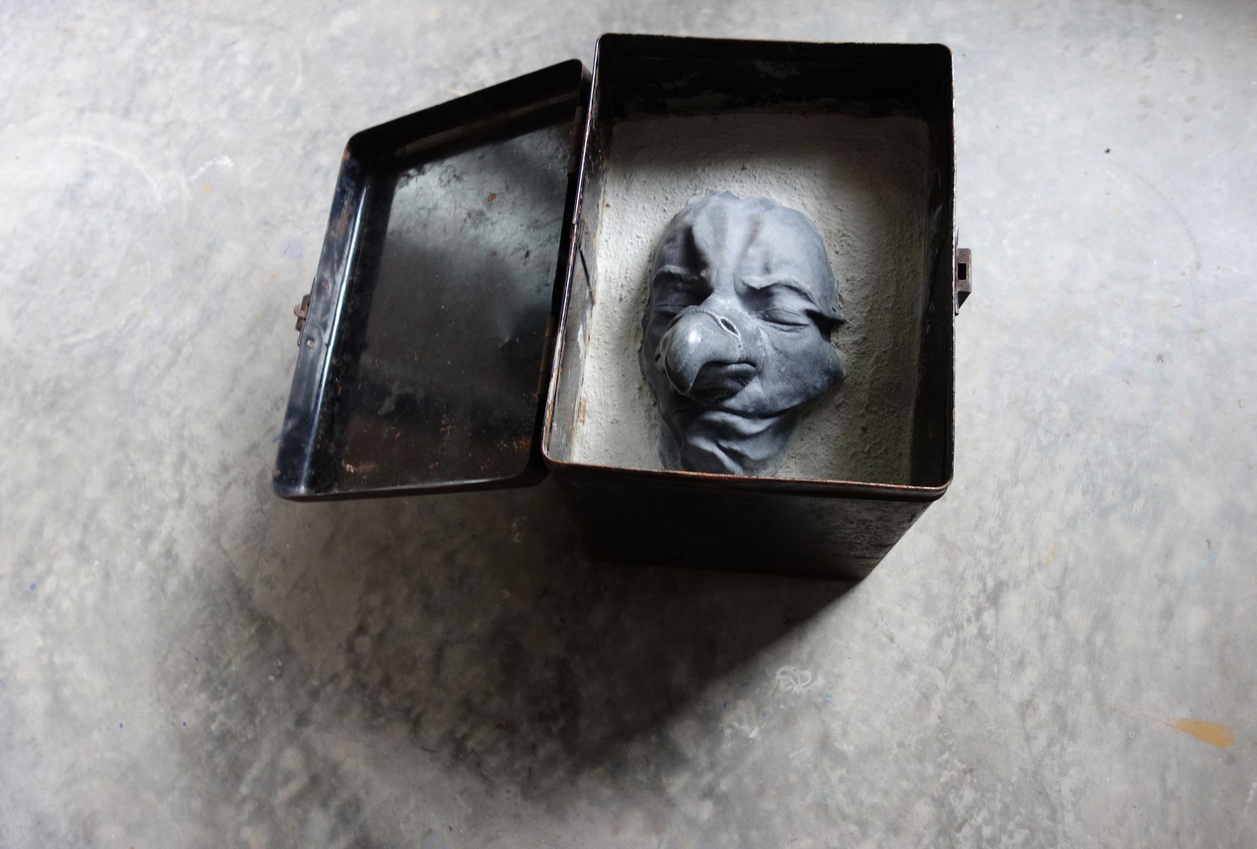 RETURN TO SENDER VI, 2015, cast cultured granite, cement and metal box