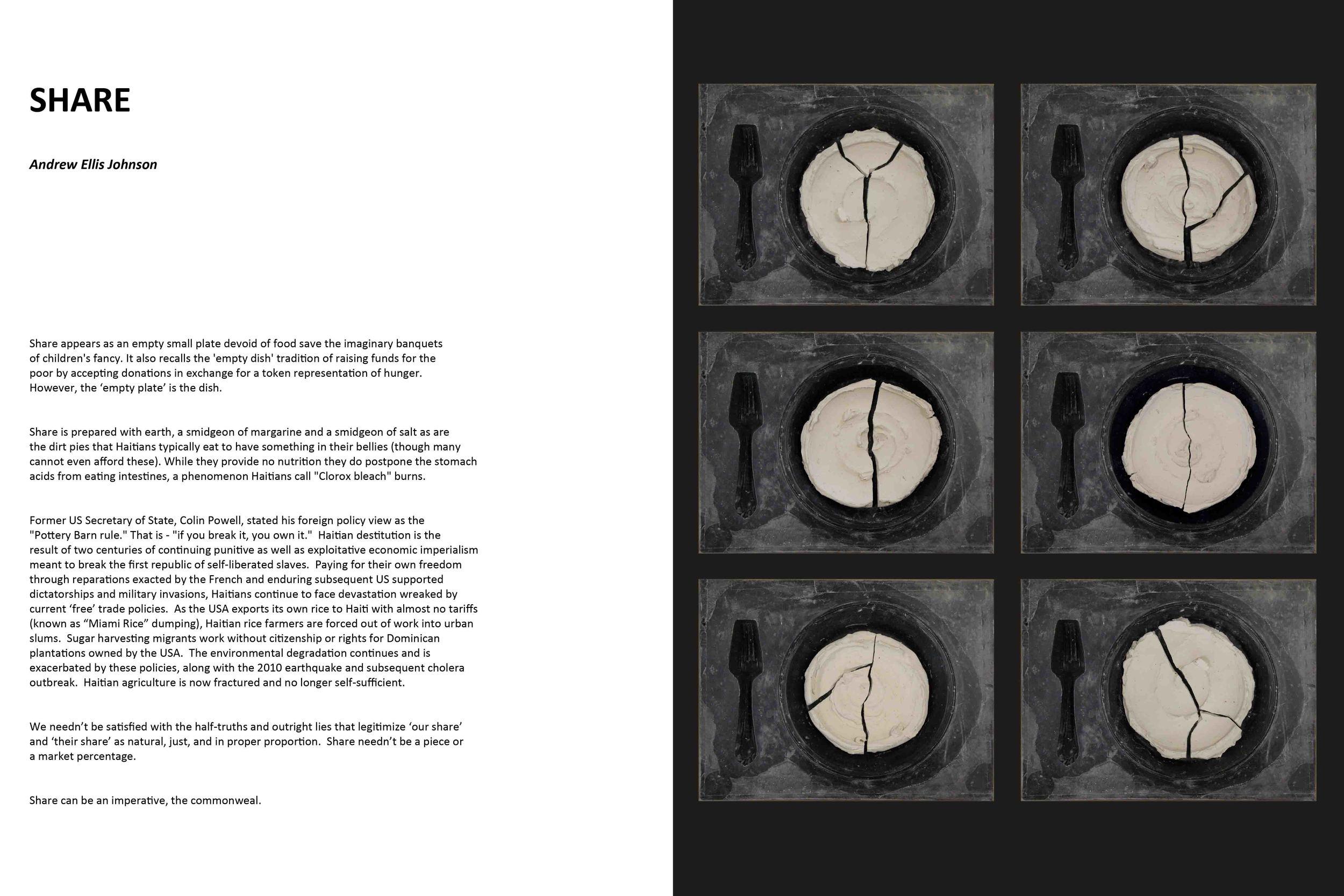 Publication version of SHARE, 2010, Haitian mud, smidgeon of margarine, smidgeon of salt, elite granite, absent fork, page 1