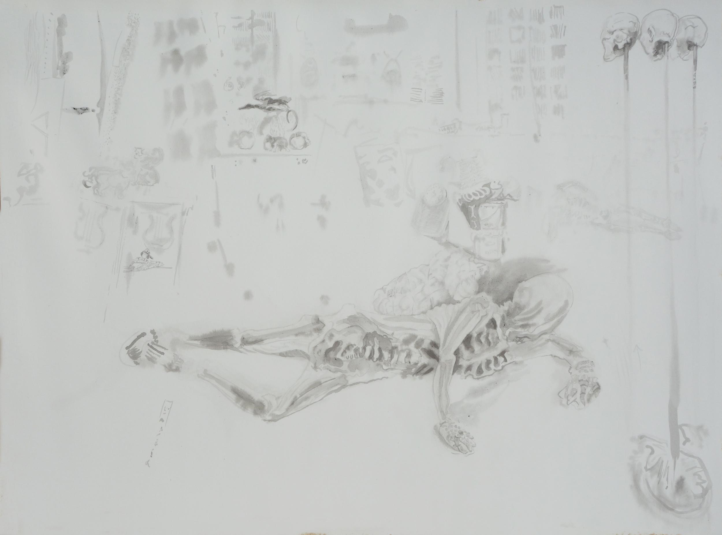 Untitled (Reclining Skeleton)