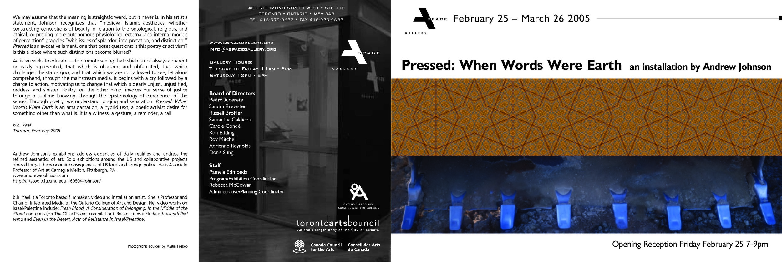 ANNOUNCEMENT FOR PRESSED AT A SPACE