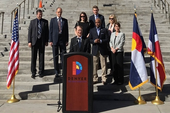Photo: The U.S. Department of Energy's Under Secretary for Science and Energy, Dr. Franklin Orr, joined Mayor Michael Hancock on March 11 to announce Denver as the host city for the 2017 Solar Decathlon and Energetics as new Solar Decathlon program administrator.