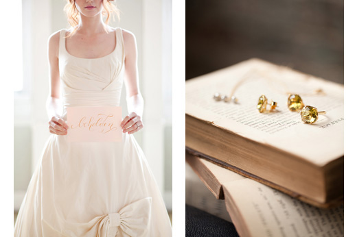 bhldn-wedding-dress-vintage-books-pink-gold-calligraphy