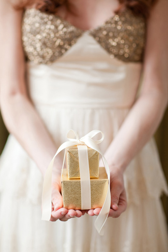 bride-bhldn-dress-gold-sequins-holding-box