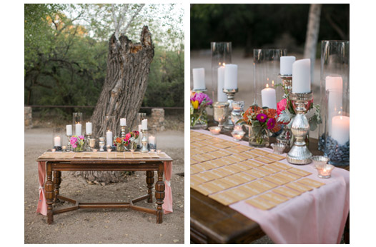 outdoor-chic-escort-card-display-tree-candles