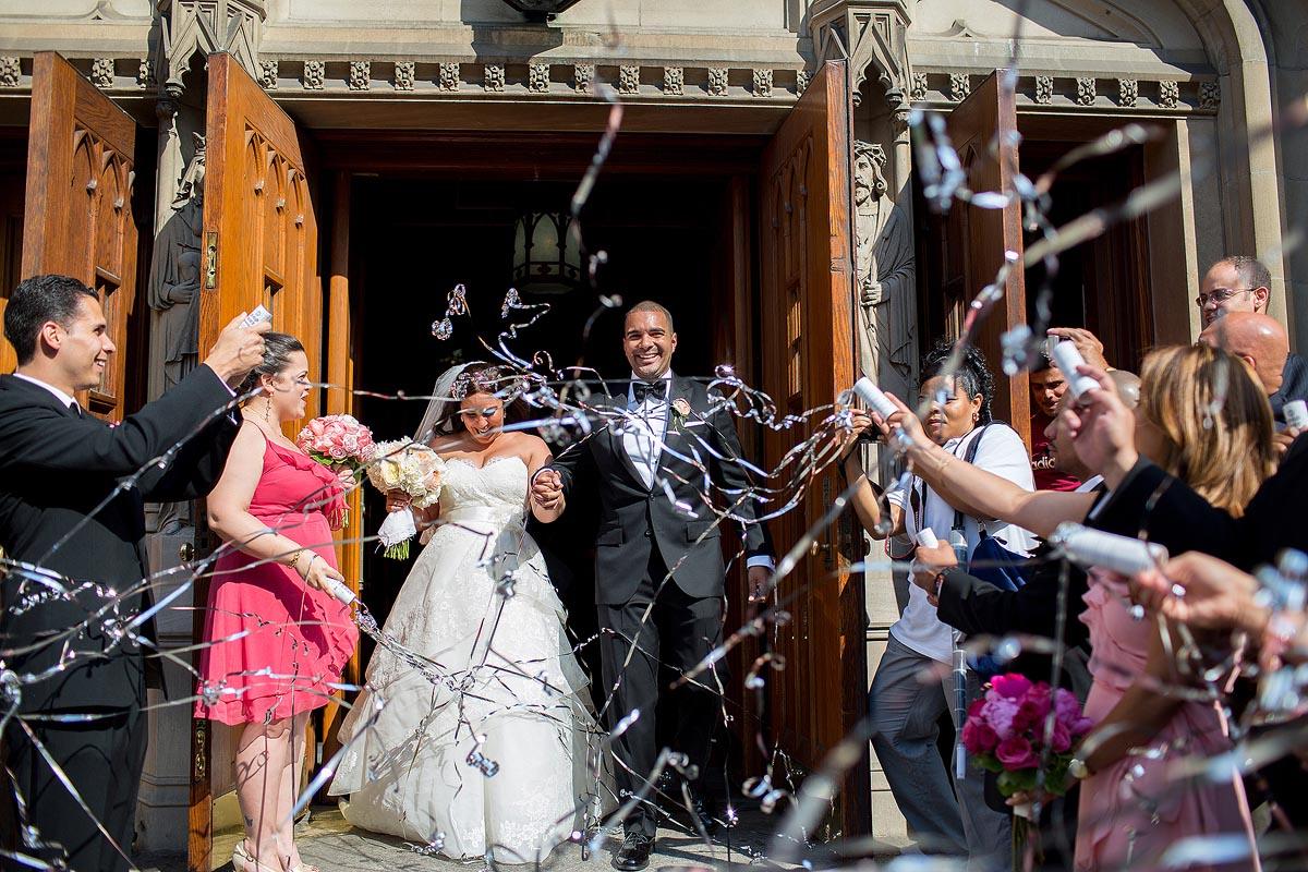 bride-groom-streamers-church-exit