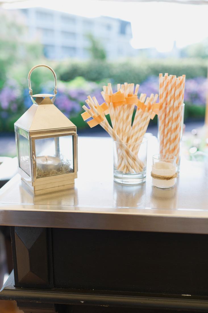 orange-white-straws-washi-flags-wedding-silver-lantern
