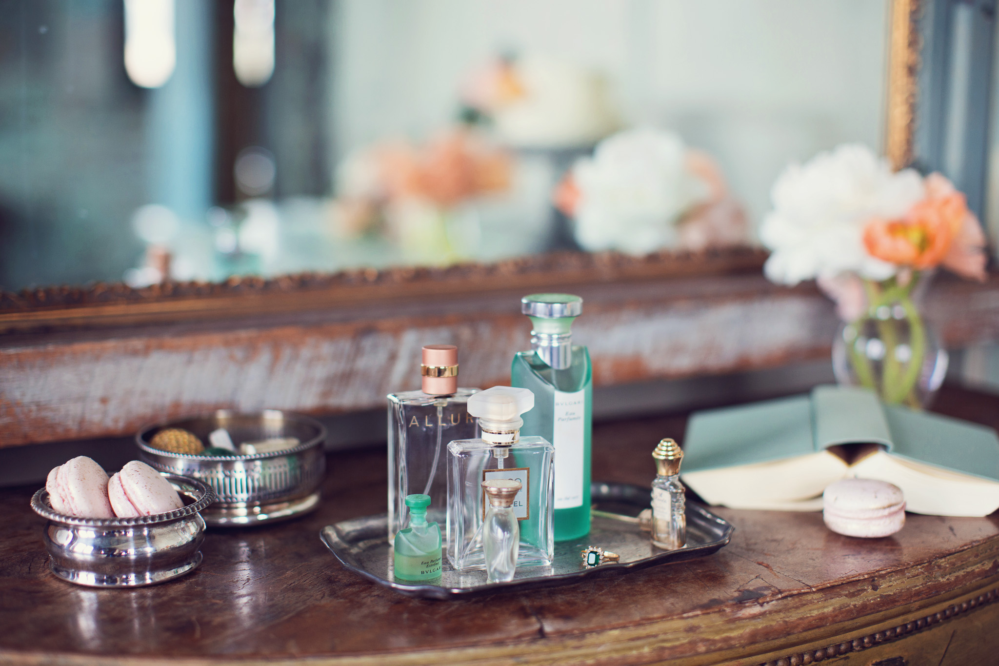 dressing-table-green-peach-perfume-bottles-feminine-vintage