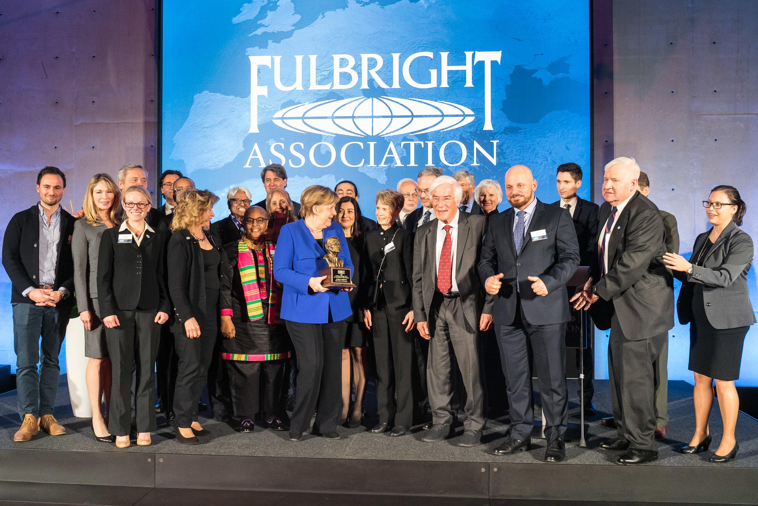Dr. Caroline Levander, Fulbright Board members, and Chancellor of Germany, Angela Merkel.