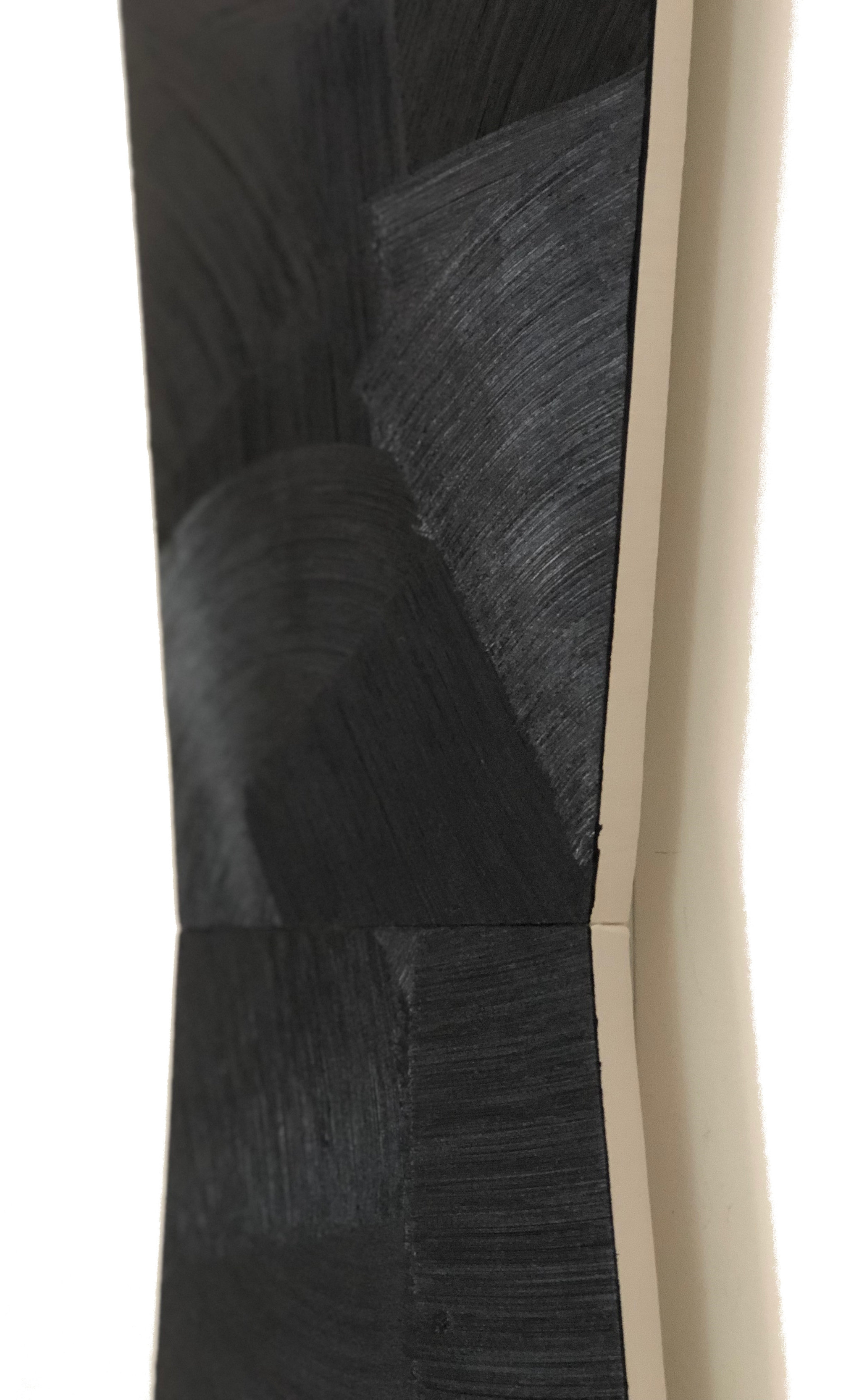 "18-01 (detail) acrylic on muslin over mdf 78"" x 12.25"" 2018"