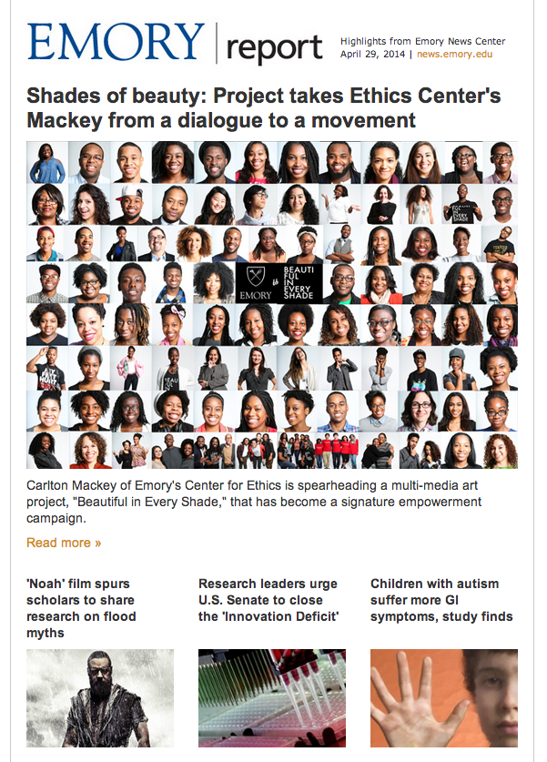 Screen capture of Emory Report (Emory University) Headline Coverage of BEAUTIFUL IN EVERY SHADE
