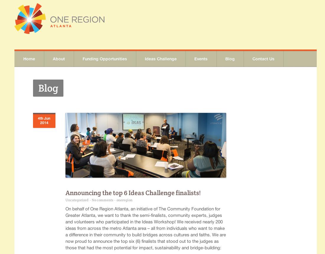 Original Posting from One Region Atlanta Blog at www.oneregionatlanta.org/announcing-the-top-6-ideas-challenge-finalists/