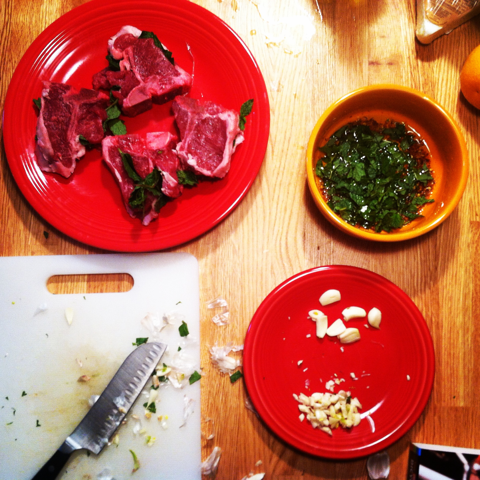 Grilled Mint Lamb and Garlic