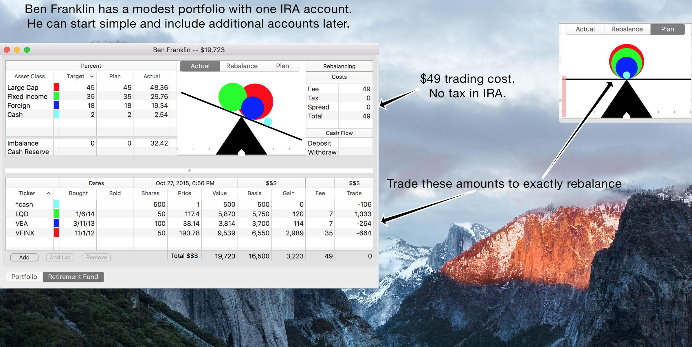 a basic portfolio, with just one account