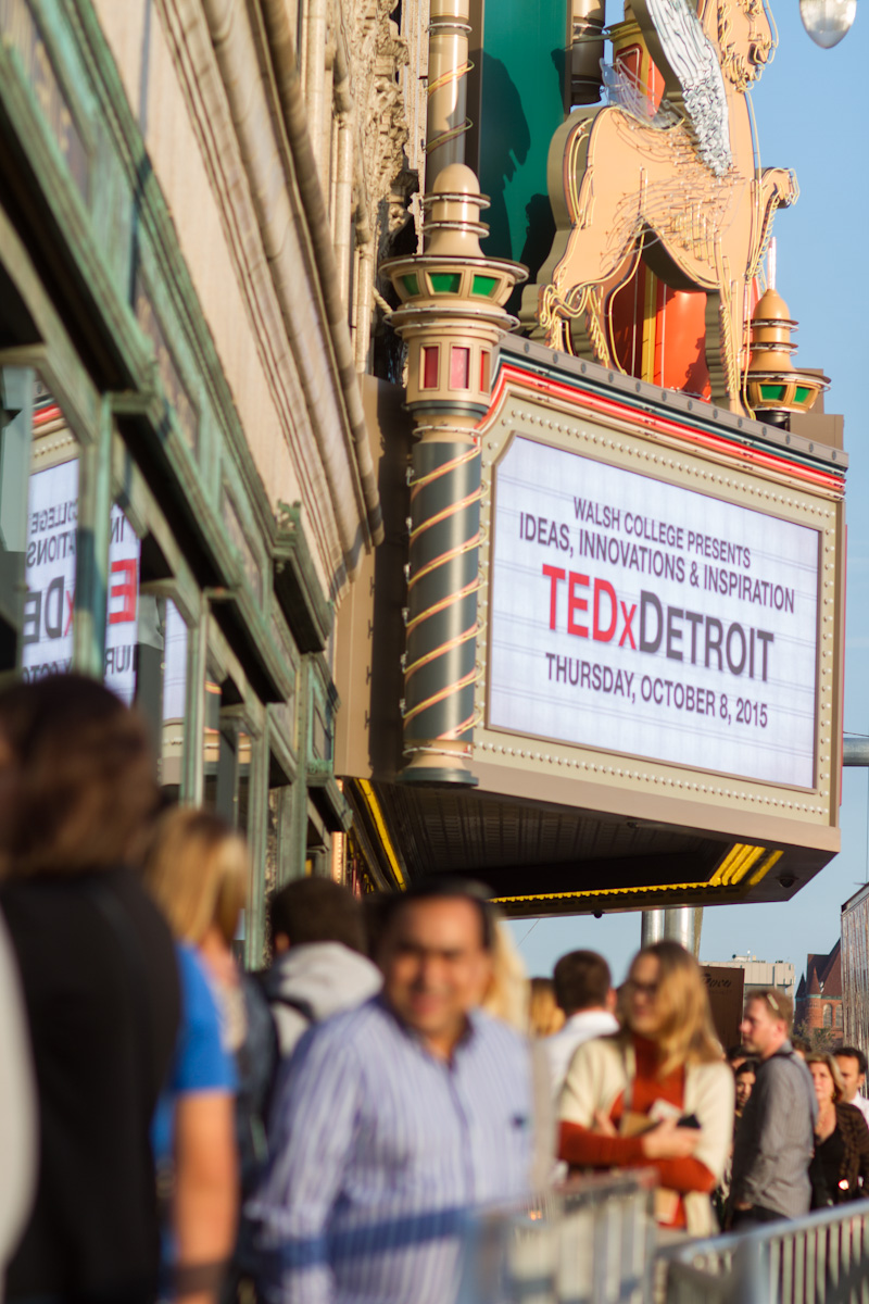 People lined up outside of the Fox Theatre for TEDxDetroit.