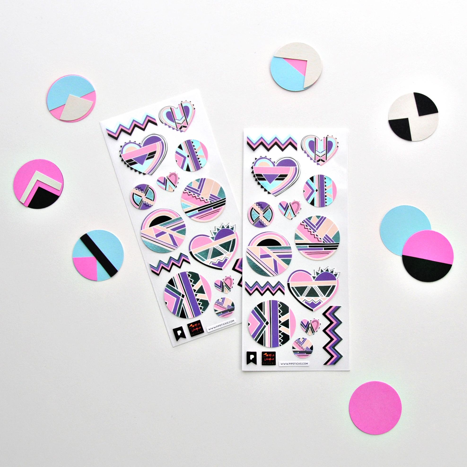 Sareka Unique and Pipsticks Retro Sticker Sheets