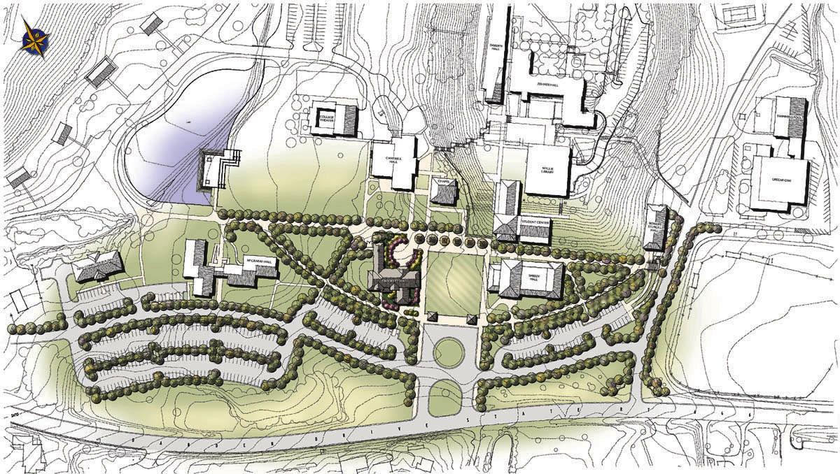 UVA Wise campus site plan, featuring Crockett Hall