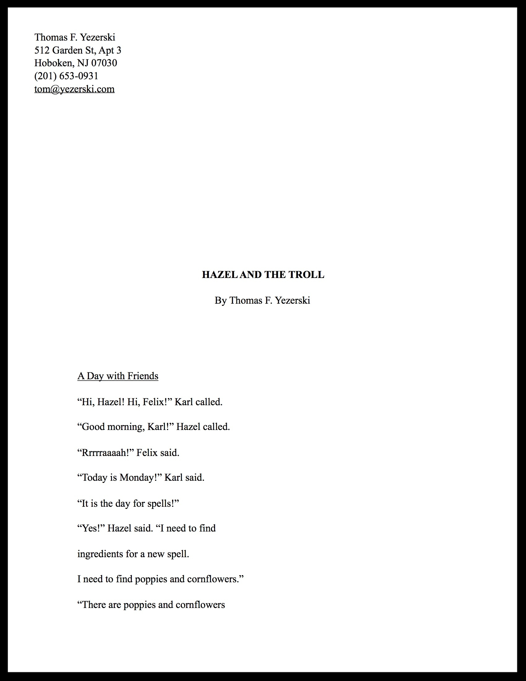 Hazel and the Troll (Manuscript)