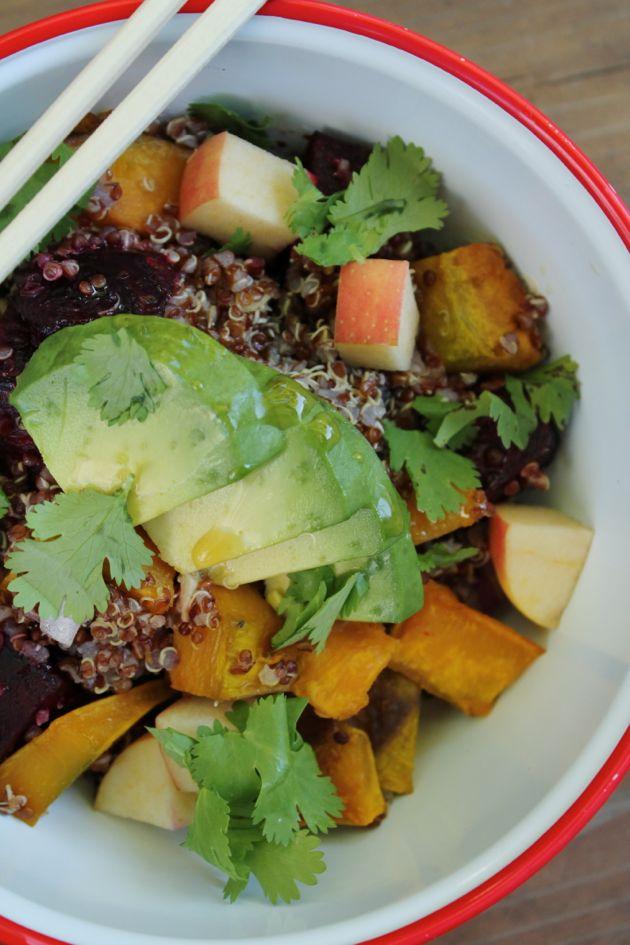Fall quinoa salad with kabocha squash, beets, and fresh apple.