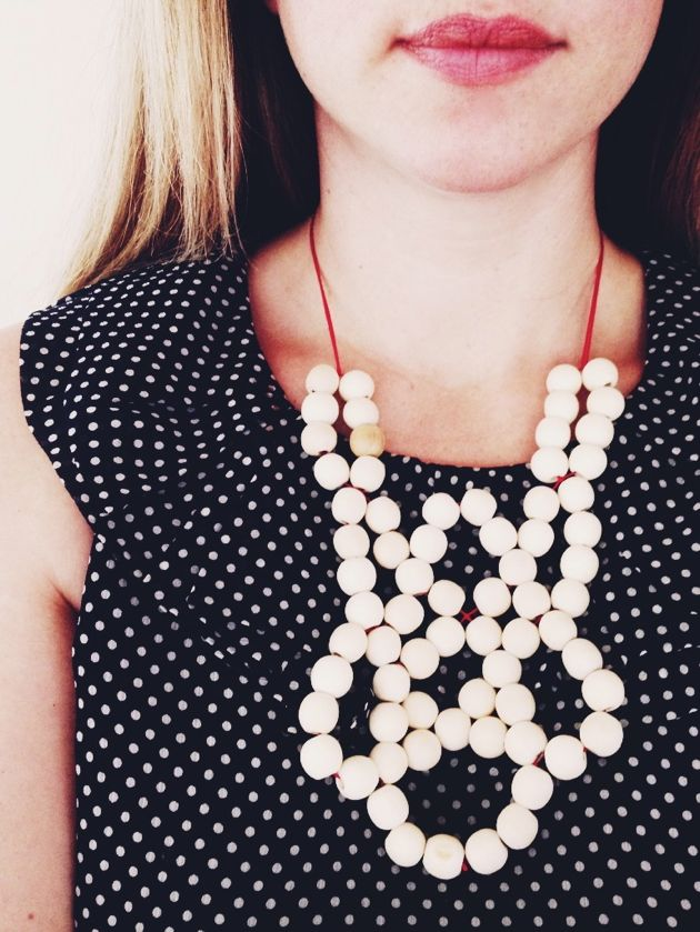 wood and thread beaded necklace // poppy haus