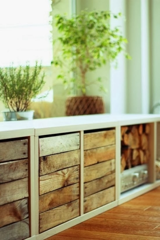 Reclaimed wood fronts and log storage EXPEDIT hack (source unknown)
