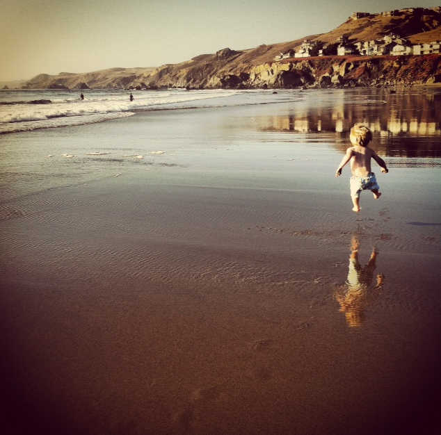 Wylie at Dillon Beach 2 years ago on a similarly hot October day...