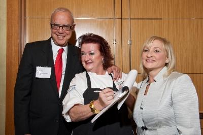Arthur Winn with chef Lydia Shire and Massachusetts Health Council Executive Director Susan Servais.