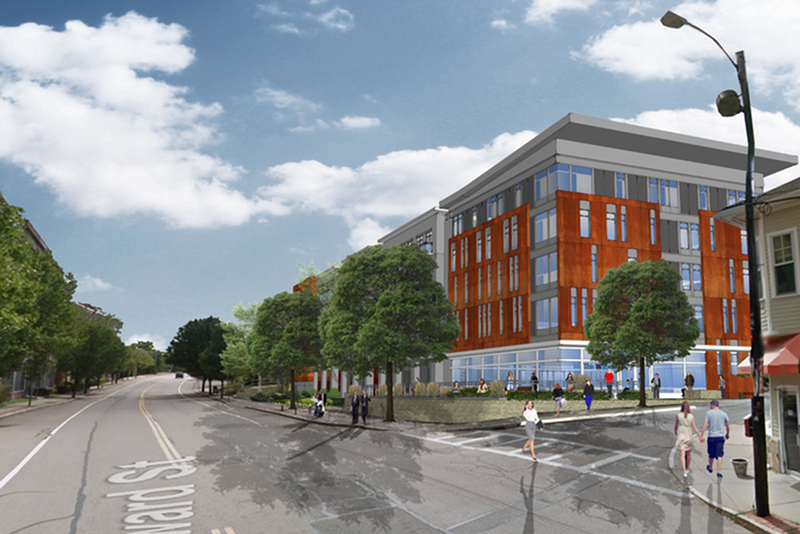 A rendering of  The Watson on Howard depicted from East Howard Street.
