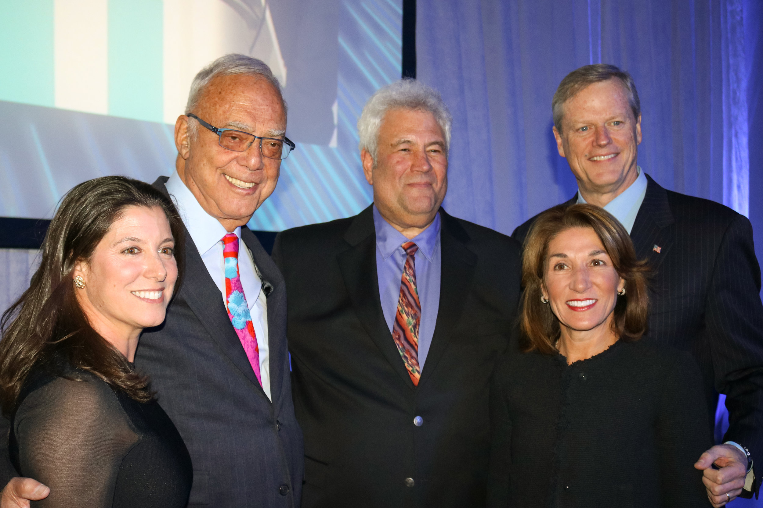 Pictured:  Lori Sidman , Chairman of the Board, JCC Greater Boston,  Arthur Winn ,  Mark SokoLl , President and CEO, JCC Greater Boston, Lt. Gov.  Karyn Polito  and Massachusetts Gov.  Charlie Baker